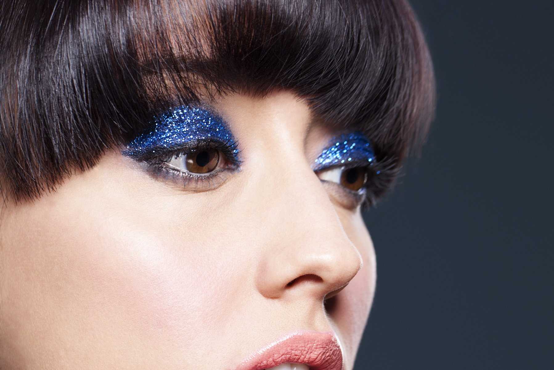 Photo: Hackney studio beauty campaign photography photographer retoucher Margaret Yescombe, model Felicity, perfect skin, blue glitter eyeshadow