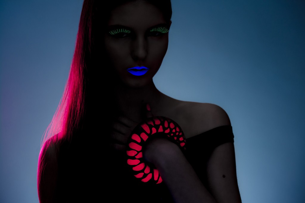 Acid pink neon pink hair studio uv black light photo-shoot model with glow in the dark eyelashes - handmade designer jewellery by Liron Kliger
