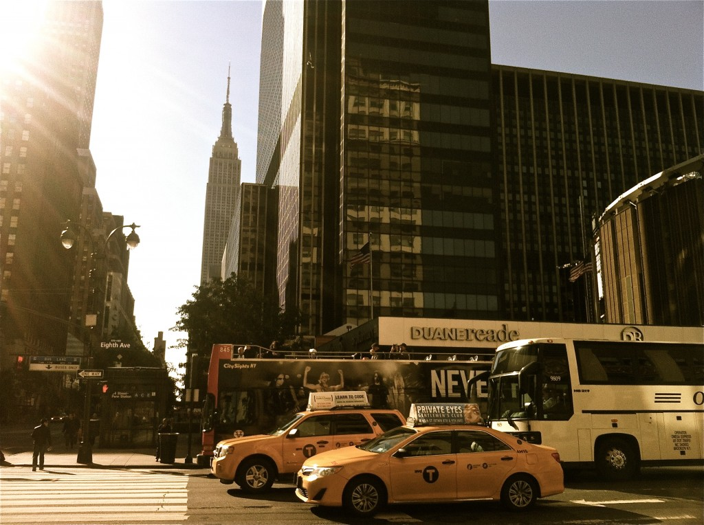 Photo: New York City Streets Sunshine Yellow Cabs Skyscrapers, iPhone image, by British Photographer Margaret Yescombe