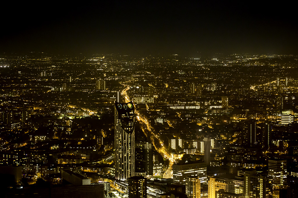 Photo: View at night, from the top of The Shard, London. Photographer: Maggie Yescombe