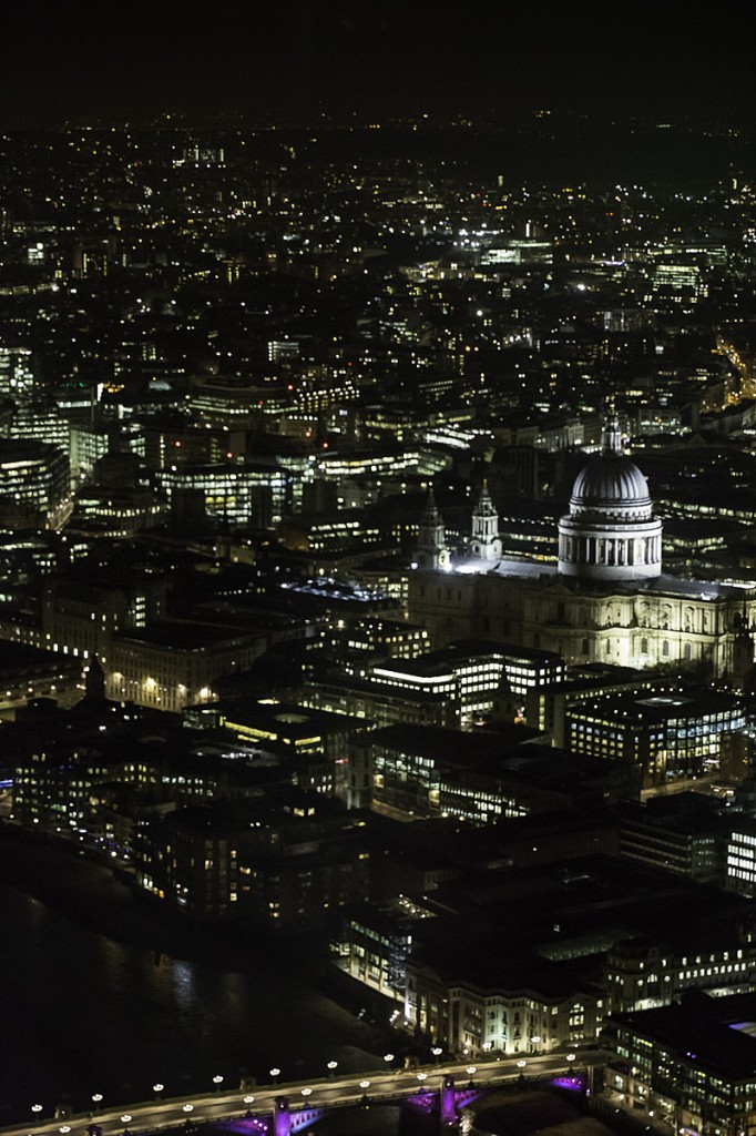 Photographer: Maggie Yescombe. Photo: View from the Shard at night, over the city of London, St Pauls Cathedral, The Thames
