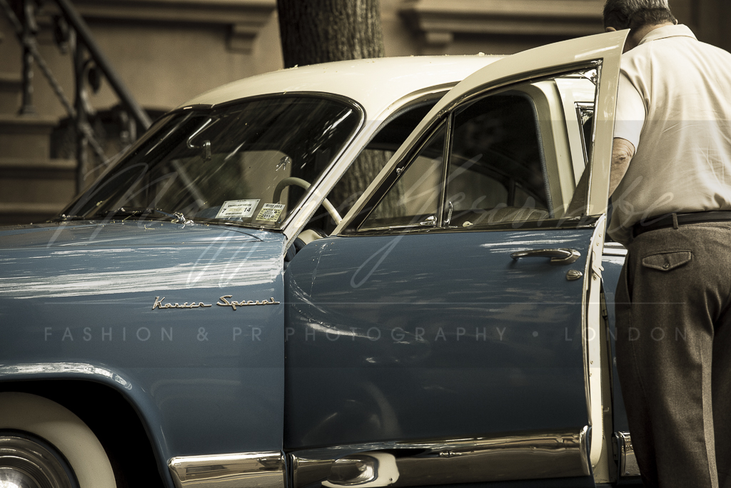 Photo: behind the movie scenes, the making of Brooklyn the movie, New York. Vintage car, period costumes