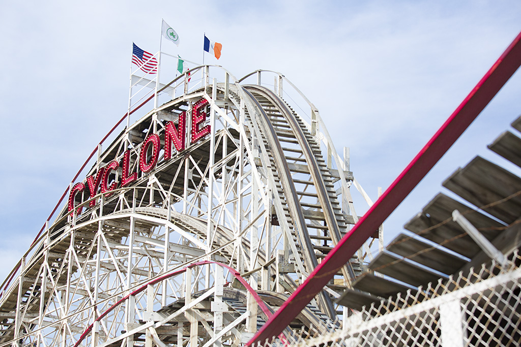 Photo: Cyclone, Coney Island Beach, Brooklyn, New York, beach re-opens, memorial day weekend, travel and documentary photography by fashion and pr photographer Margaret ( Maggie ) Yescombe, London UK