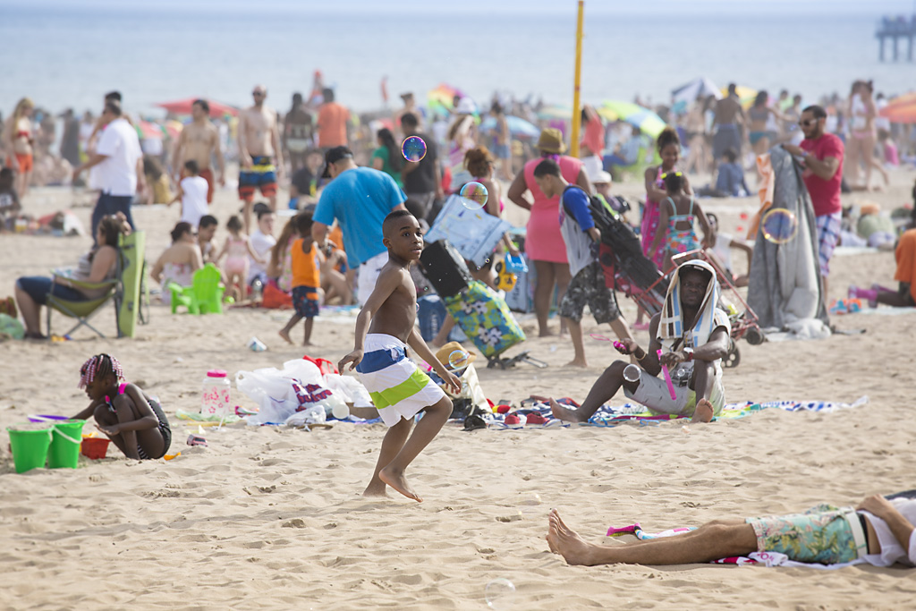 Photo: Coney Island Beach, Brooklyn, New York, beach re-opens, memorial day weekend, sun sea sand, travel and documentary photography by fashion and pr photographer Margaret ( Maggie ) Yescombe, London UK