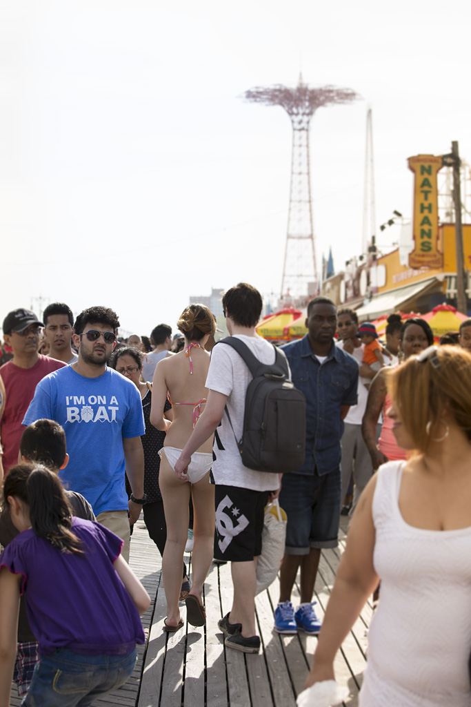 Photo: Coney Island Beach, Brooklyn, New York, beach re-opens, memorial day weekend, 'I'm on a boat t-shirt' travel and documentary photography by fashion and pr photographer Margaret ( Maggie ) Yescombe, London UK