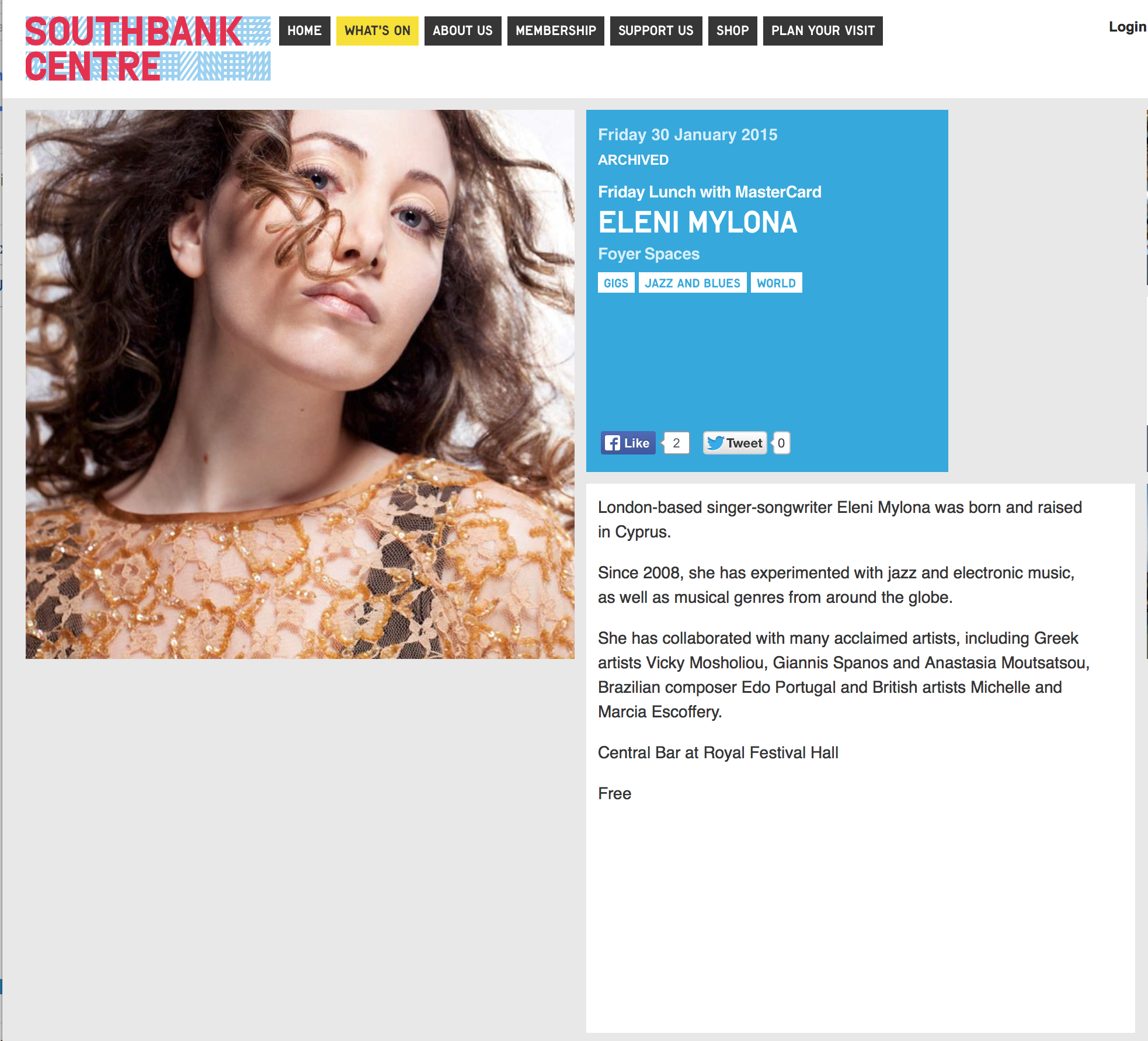 Photo: screenshot of Southbank Centre displaying image by London Fashion Photographer Margaret Yescombe