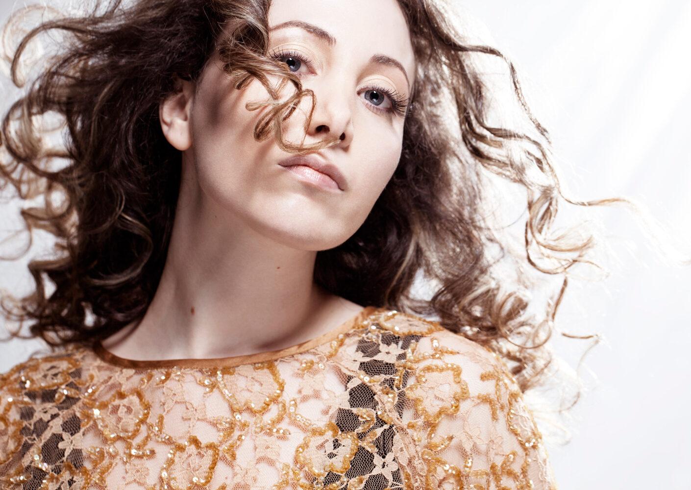 Photo: image by London fashion photographer, studio portrait of musician singer Eleni by British Fashion Photographer Margaret Yescombe